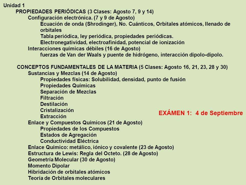 Unidad 1 PROPIEDADES PERIÓDICAS (3 Clases: Agosto 7, 9 y 14) Configuración electrónica.