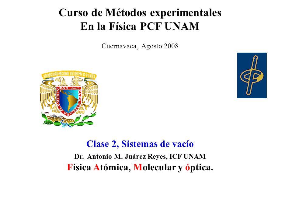 Curso de Métodos experimentales En la Física PCF UNAM Cuernavaca, Agosto 2008 Clase 2, Sistemas de vacío Dr.