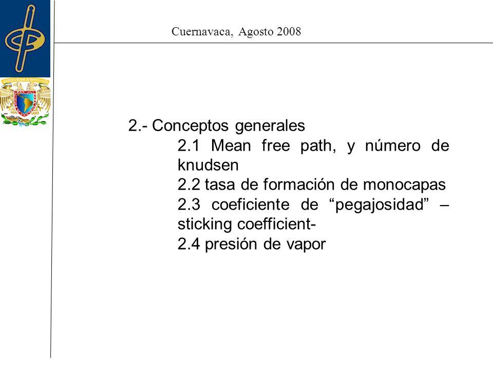 Cuernavaca, Agosto 2008 2.- Conceptos generales 2.1 Mean free path, y número de knudsen 2.2 tasa de formación de monocapas 2.3 coeficiente de pegajosidad – sticking coefficient- 2.4 presión de vapor