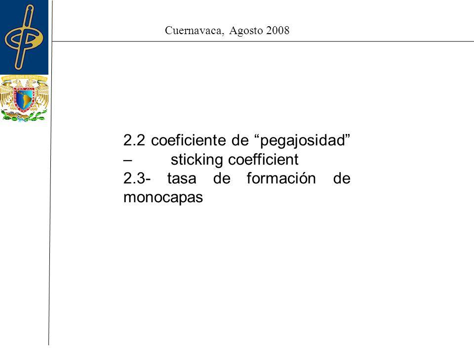 Cuernavaca, Agosto 2008 2.2 coeficiente de pegajosidad –sticking coefficient 2.3- tasa de formación de monocapas