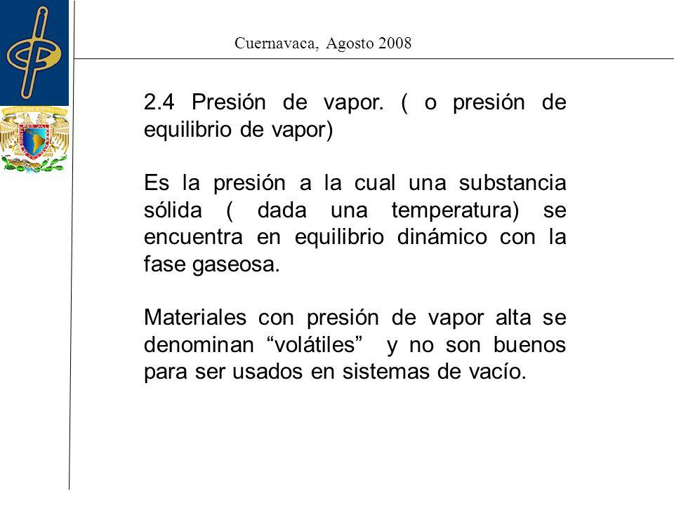 Cuernavaca, Agosto 2008 2.4 Presión de vapor.