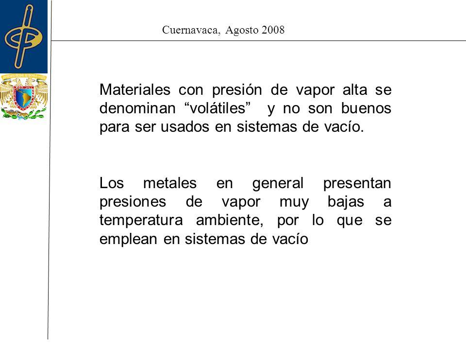 Cuernavaca, Agosto 2008 Materiales con presión de vapor alta se denominan volátiles y no son buenos para ser usados en sistemas de vacío.