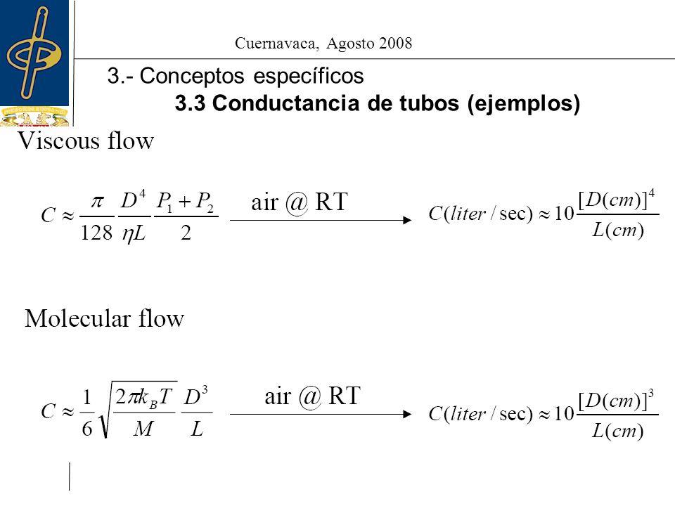 Cuernavaca, Agosto 2008 3.- Conceptos específicos 3.3 Conductancia de tubos (ejemplos)