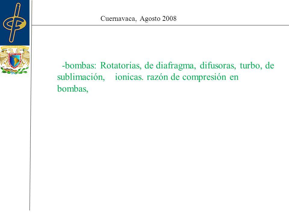 Cuernavaca, Agosto 2008 -bombas: Rotatorias, de diafragma, difusoras, turbo, de sublimación, ionicas.