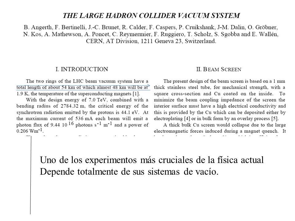 Cuernavaca, Agosto 2008 Uno de los experimentos más cruciales de la física actual Depende totalmente de sus sistemas de vacío.