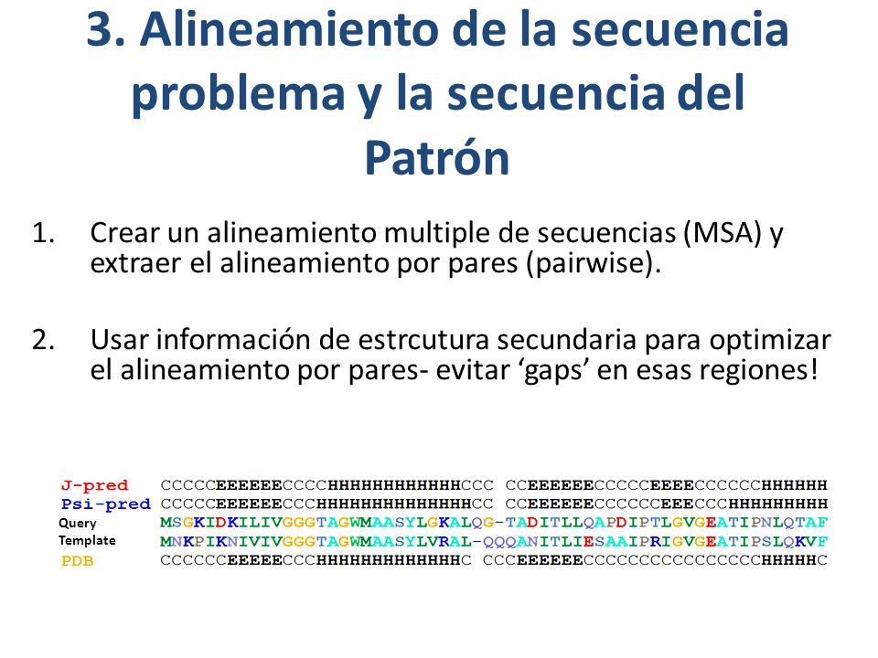 1.Crear un alineamiento multiple de secuencias (MSA) y extraer el alineamiento por pares (pairwise).