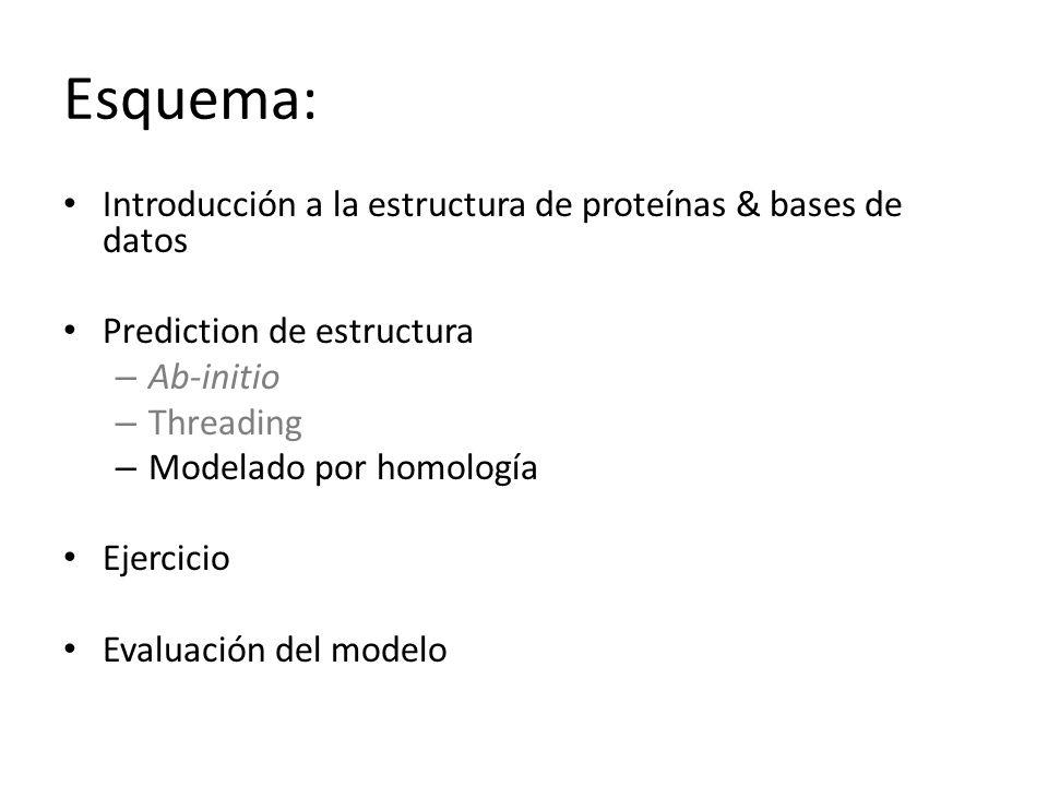 Esquema: Introducción a la estructura de proteínas & bases de datos Prediction de estructura – Ab-initio – Threading – Modelado por homología Ejercicio Evaluación del modelo