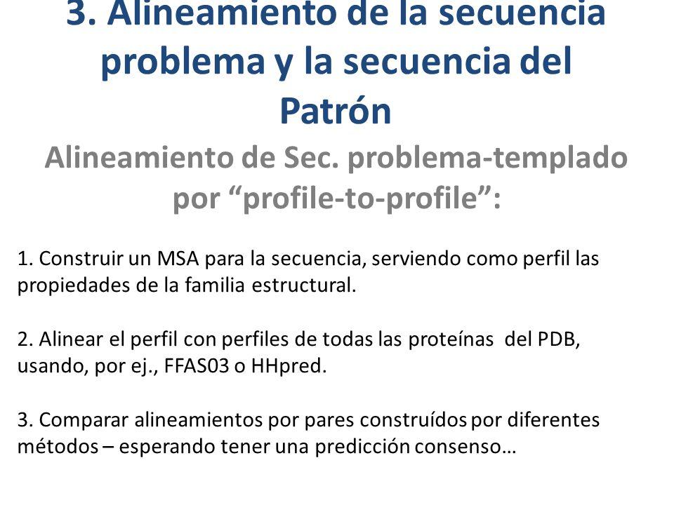3.Alineamiento de la secuencia problema y la secuencia del Patrón Alineamiento de Sec.