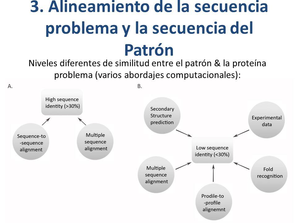 3. Alineamiento de la secuencia problema y la secuencia del Patrón Niveles diferentes de similitud entre el patrón & la proteína problema (varios abor