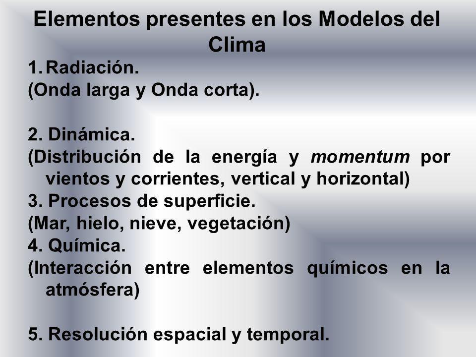 1.Radiación. (Onda larga y Onda corta). 2. Dinámica. (Distribución de la energía y momentum por vientos y corrientes, vertical y horizontal) 3. Proces