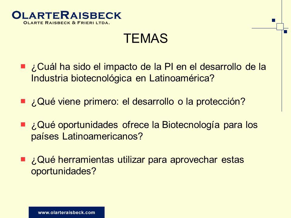 TEMAS ¿Cuál ha sido el impacto de la PI en el desarrollo de la Industria biotecnológica en Latinoamérica? ¿Qué viene primero: el desarrollo o la prote