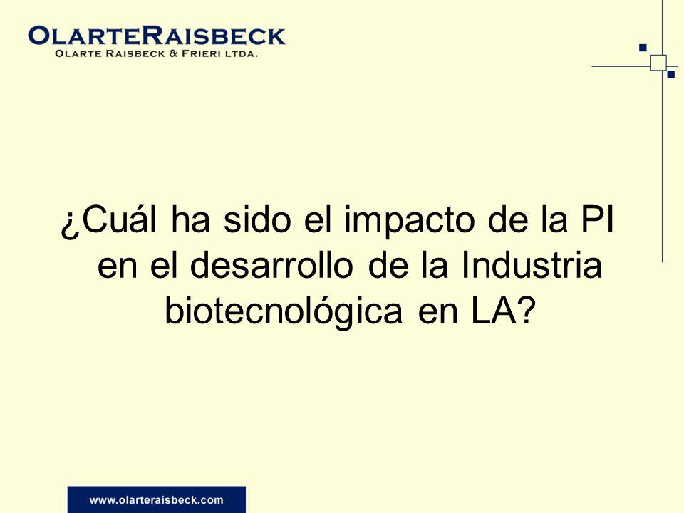 ¿Cuál ha sido el impacto de la PI en el desarrollo de la Industria biotecnológica en LA?