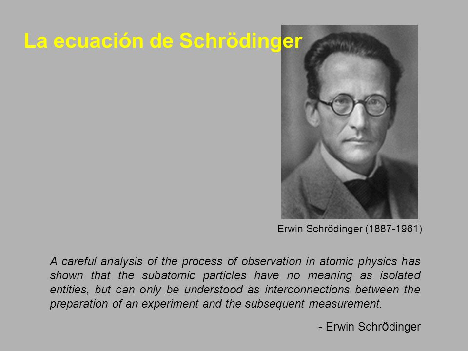 Erwin Schrödinger (1887-1961) A careful analysis of the process of observation in atomic physics has shown that the subatomic particles have no meaning as isolated entities, but can only be understood as interconnections between the preparation of an experiment and the subsequent measurement.
