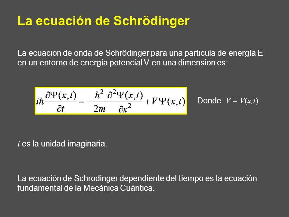 La ecuacion de onda de Schrödinger para una particula de energía E en un entorno de energía potencial V en una dimension es: i es la unidad imaginaria.