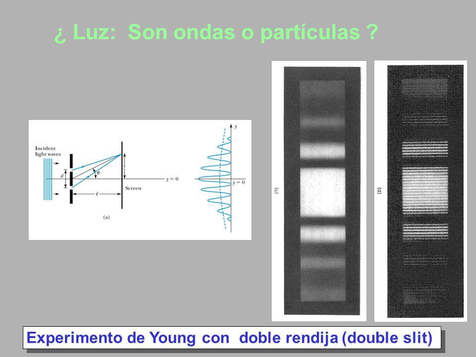 Experimento de Young con doble rendija (double slit) ¿ Luz: Son ondas o partículas ?