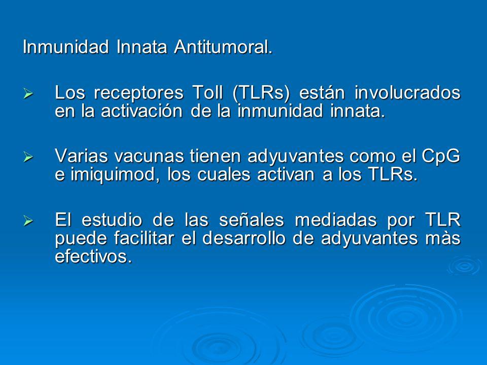 Inmunidad Innata Antitumoral. Los receptores Toll (TLRs) están involucrados en la activación de la inmunidad innata. Los receptores Toll (TLRs) están