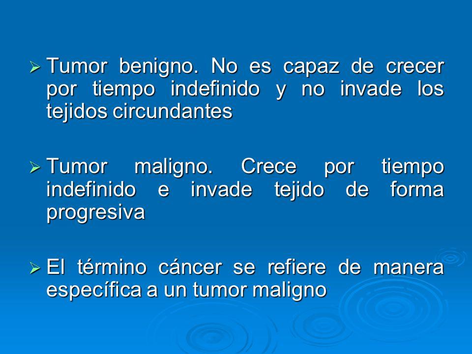 Tumor benigno. No es capaz de crecer por tiempo indefinido y no invade los tejidos circundantes Tumor benigno. No es capaz de crecer por tiempo indefi