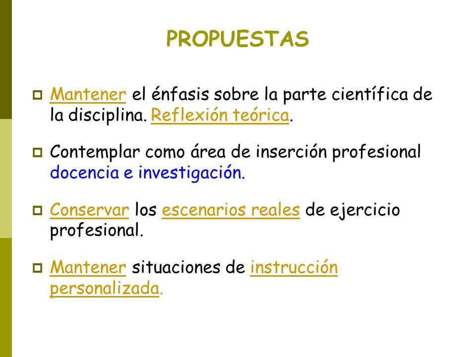 PROPUESTAS Mantener el énfasis sobre la parte científica de la disciplina. Reflexión teórica. Contemplar como área de inserción profesional docencia e
