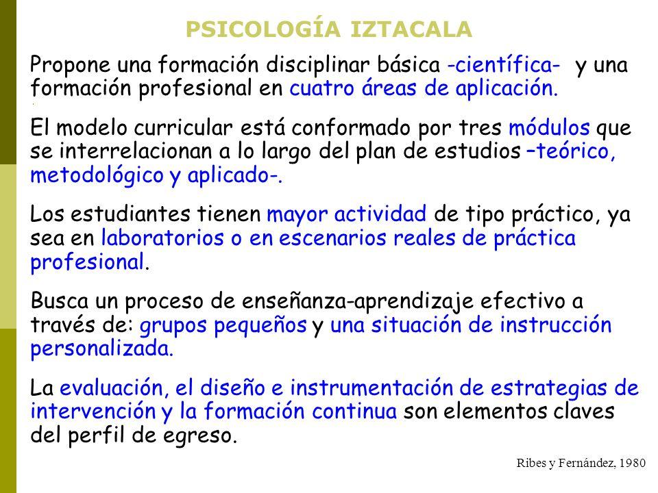 PSICOLOGÍA IZTACALA Propone una formación disciplinar básica -científica- y una formación profesional en cuatro áreas de aplicación. El modelo curricu