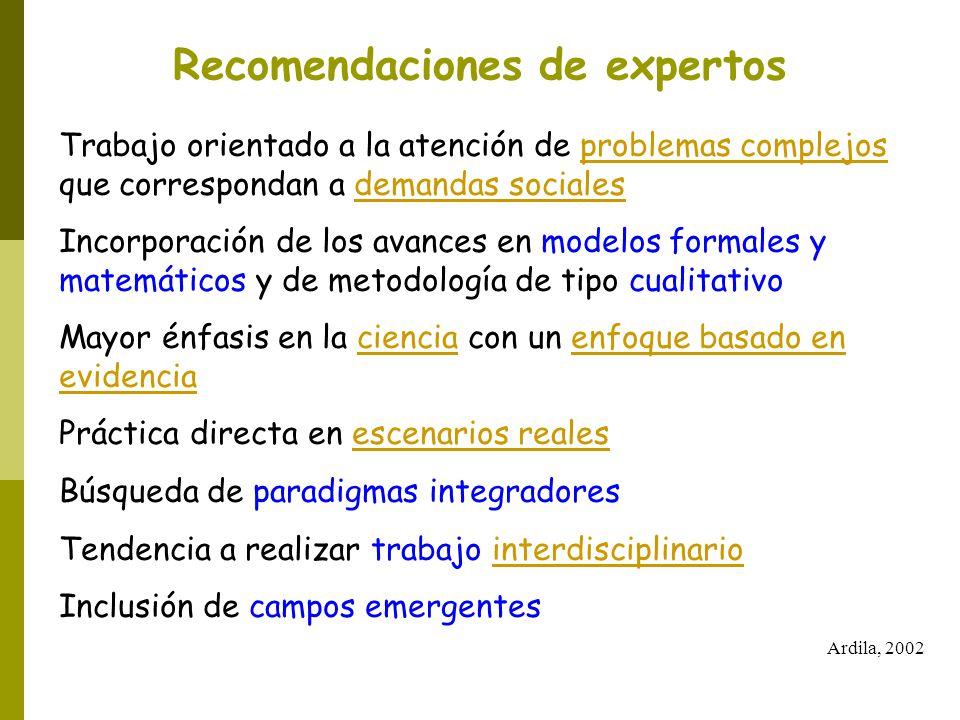 Recomendaciones de expertos Trabajo orientado a la atención de problemas complejos que correspondan a demandas sociales Incorporación de los avances e