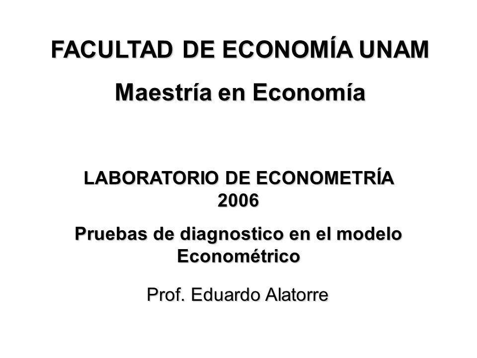 FACULTAD DE ECONOMÍA UNAM Maestría en Economía Prof. Eduardo Alatorre LABORATORIO DE ECONOMETRÍA 2006 Pruebas de diagnostico en el modelo Econométrico