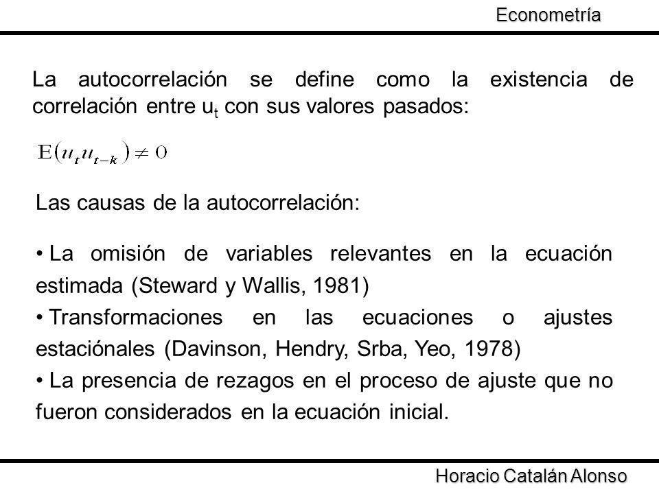 La autocorrelación se define como la existencia de correlación entre u t con sus valores pasados: Las causas de la autocorrelación: La omisión de vari