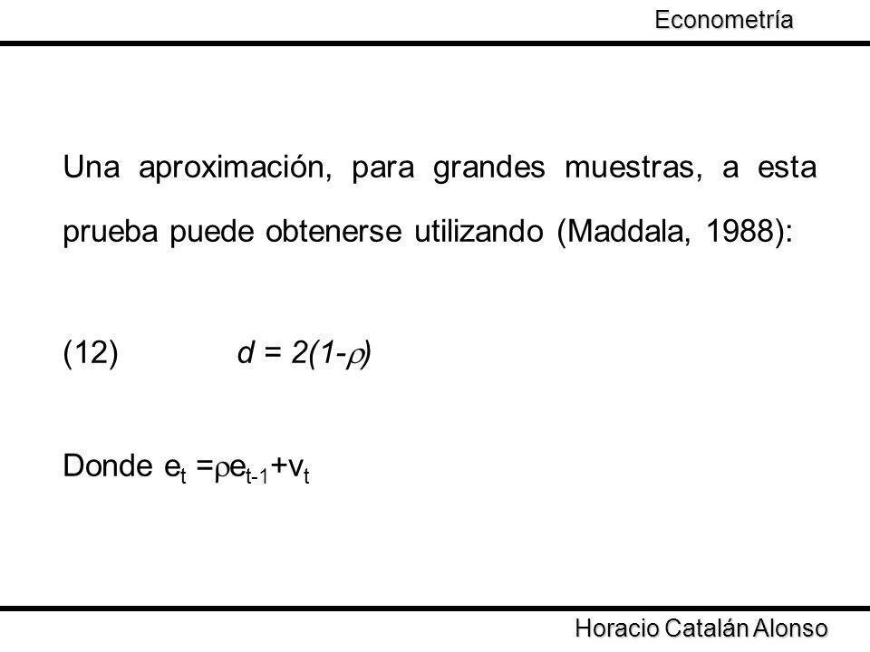 Una aproximación, para grandes muestras, a esta prueba puede obtenerse utilizando (Maddala, 1988): (12) d = 2(1- ) Donde e t = e t-1 +v t Horacio Cata