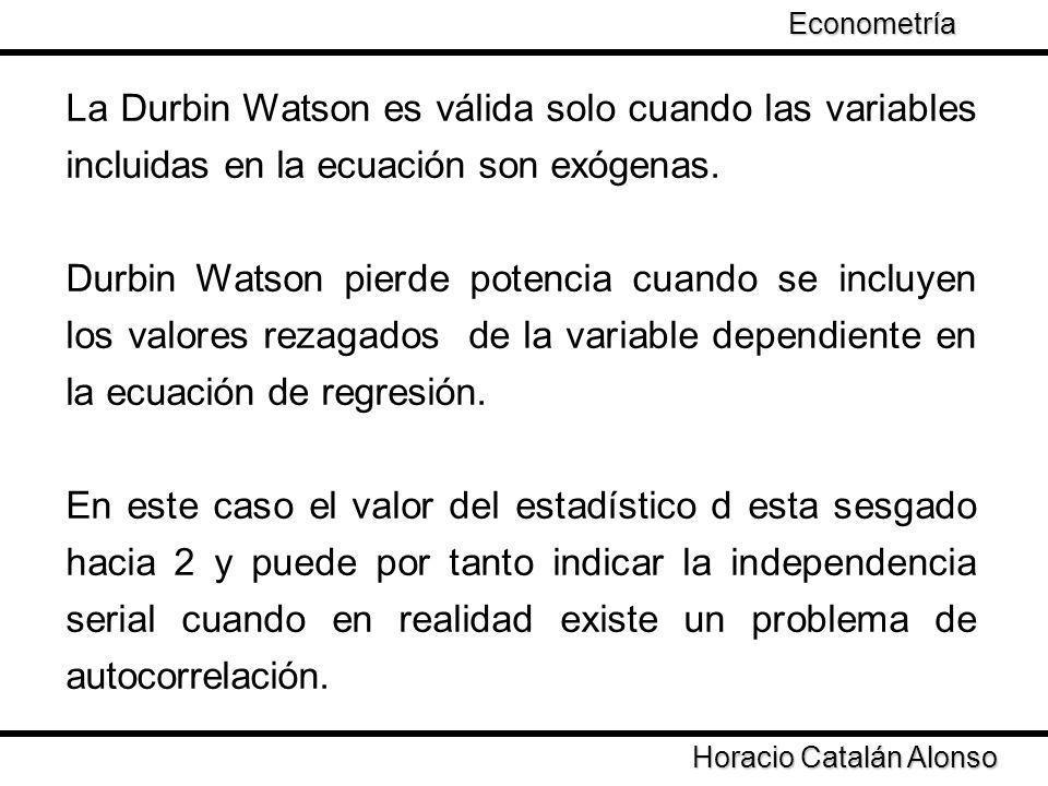 La Durbin Watson es válida solo cuando las variables incluidas en la ecuación son exógenas. Durbin Watson pierde potencia cuando se incluyen los valor