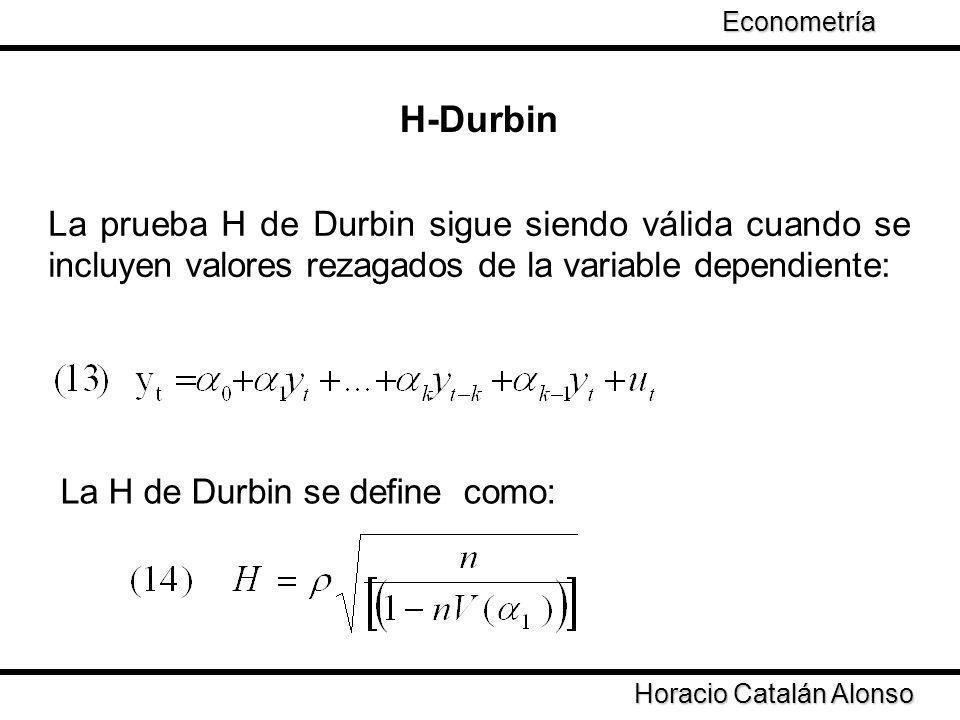 La prueba H de Durbin sigue siendo válida cuando se incluyen valores rezagados de la variable dependiente: H-Durbin La H de Durbin se define como: Hor