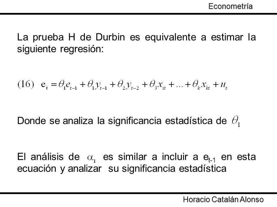 La prueba H de Durbin es equivalente a estimar la siguiente regresión: Donde se analiza la significancia estadística de El análisis de es similar a in