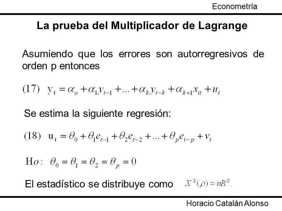 Asumiendo que los errores son autorregresivos de orden p entonces La prueba del Multiplicador de Lagrange Se estima la siguiente regresión: El estadís