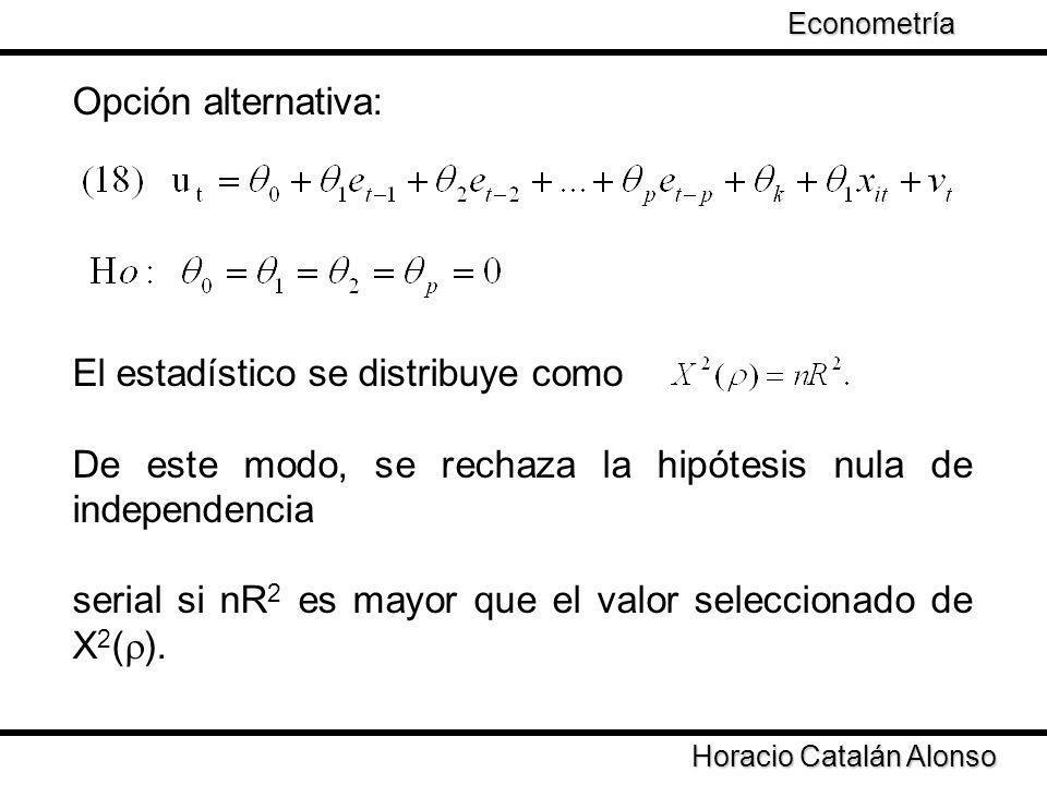 Opción alternativa: El estadístico se distribuye como De este modo, se rechaza la hipótesis nula de independencia serial si nR 2 es mayor que el valor