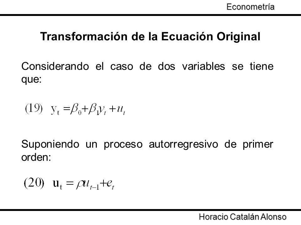 Considerando el caso de dos variables se tiene que: Suponiendo un proceso autorregresivo de primer orden: Transformación de la Ecuación Original Horac