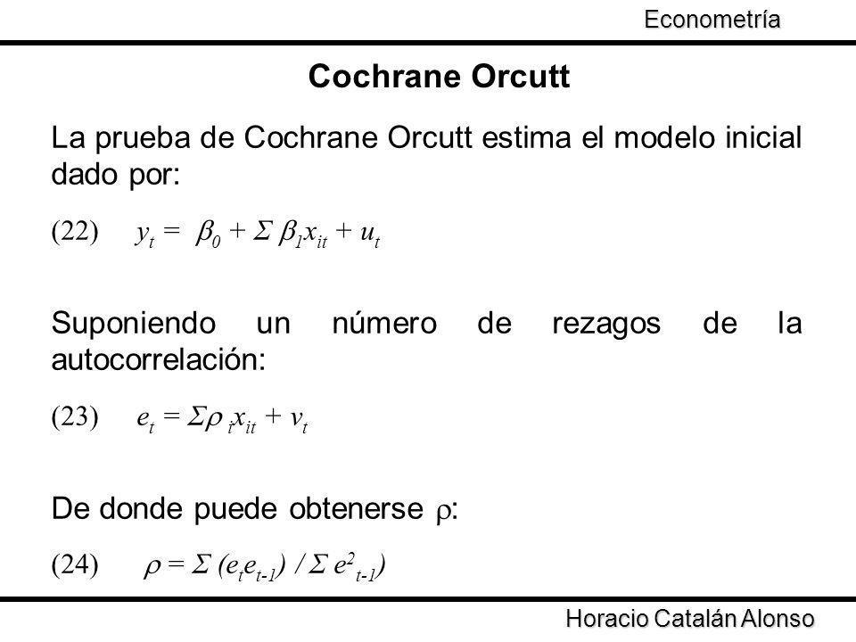 Cochrane Orcutt La prueba de Cochrane Orcutt estima el modelo inicial dado por: (22) y t = 0 + Σ 1 x it + u t Suponiendo un número de rezagos de la au