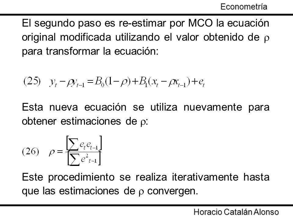El segundo paso es re-estimar por MCO la ecuación original modificada utilizando el valor obtenido de para transformar la ecuación: Esta nueva ecuació