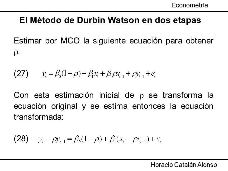 El Método de Durbin Watson en dos etapas Estimar por MCO la siguiente ecuación para obtener. (27) Con esta estimación inicial de se transforma la ecua
