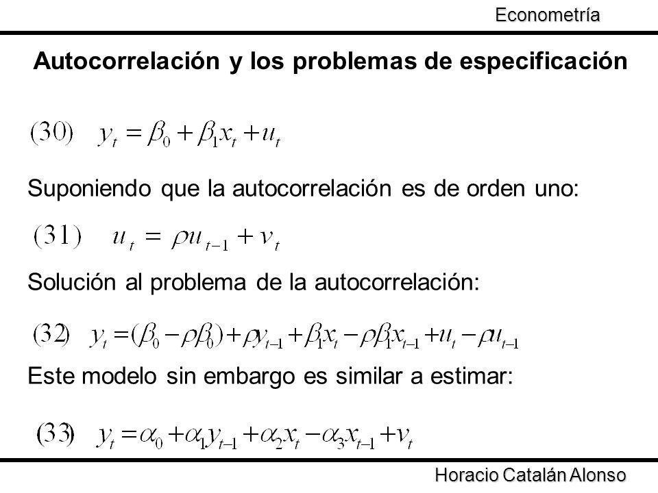 Autocorrelación y los problemas de especificación Suponiendo que la autocorrelación es de orden uno: Solución al problema de la autocorrelación: Este