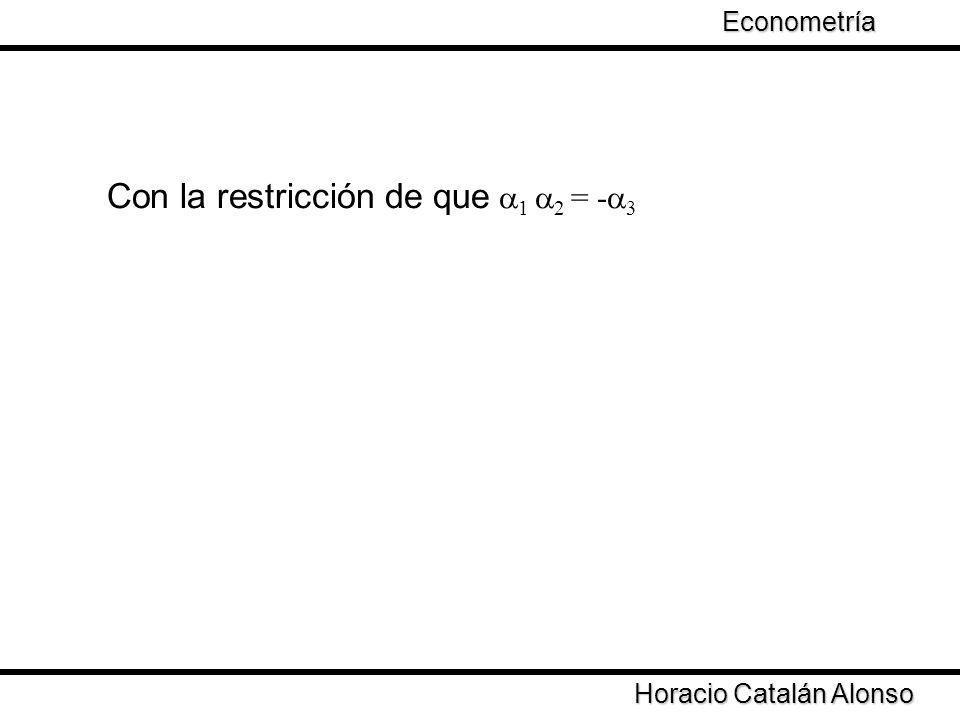 Con la restricción de que 1 2 = - 3 Horacio Catalán Alonso Econometría