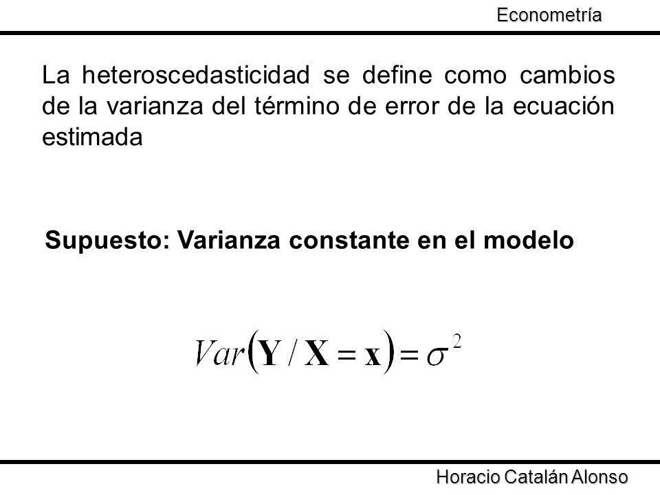 Taller de Econometría Supuesto: Varianza constante en el modelo La heteroscedasticidad se define como cambios de la varianza del término de error de l