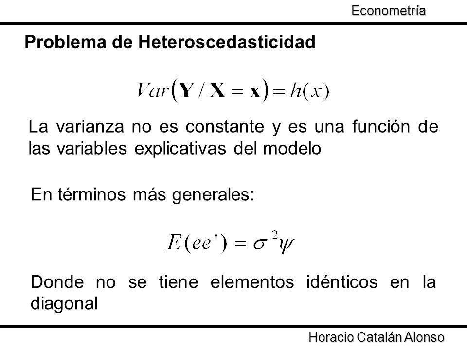 Taller de Econometría Problema de Heteroscedasticidad La varianza no es constante y es una función de las variables explicativas del modelo Horacio Ca