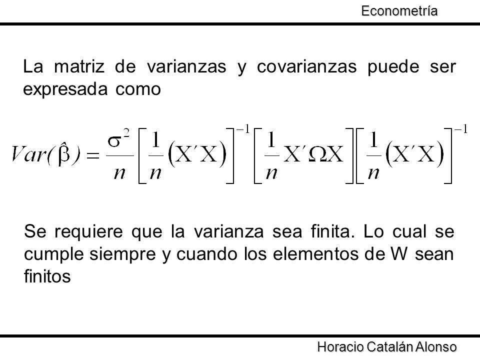 Taller de Econometría La matriz de varianzas y covarianzas puede ser expresada como Se requiere que la varianza sea finita. Lo cual se cumple siempre