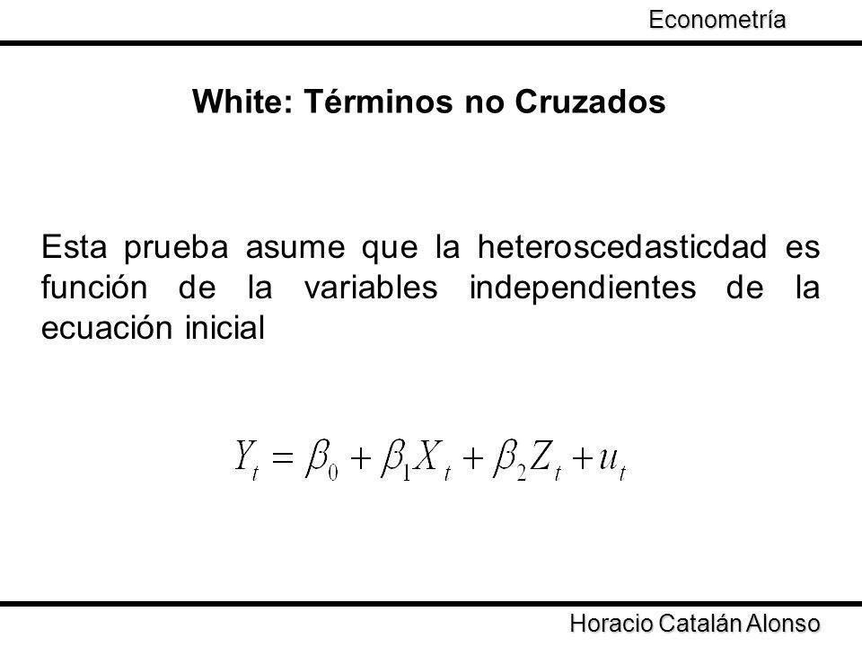 Taller de Econometría White: Términos no Cruzados Horacio Catalán Alonso Econometría Esta prueba asume que la heteroscedasticdad es función de la vari