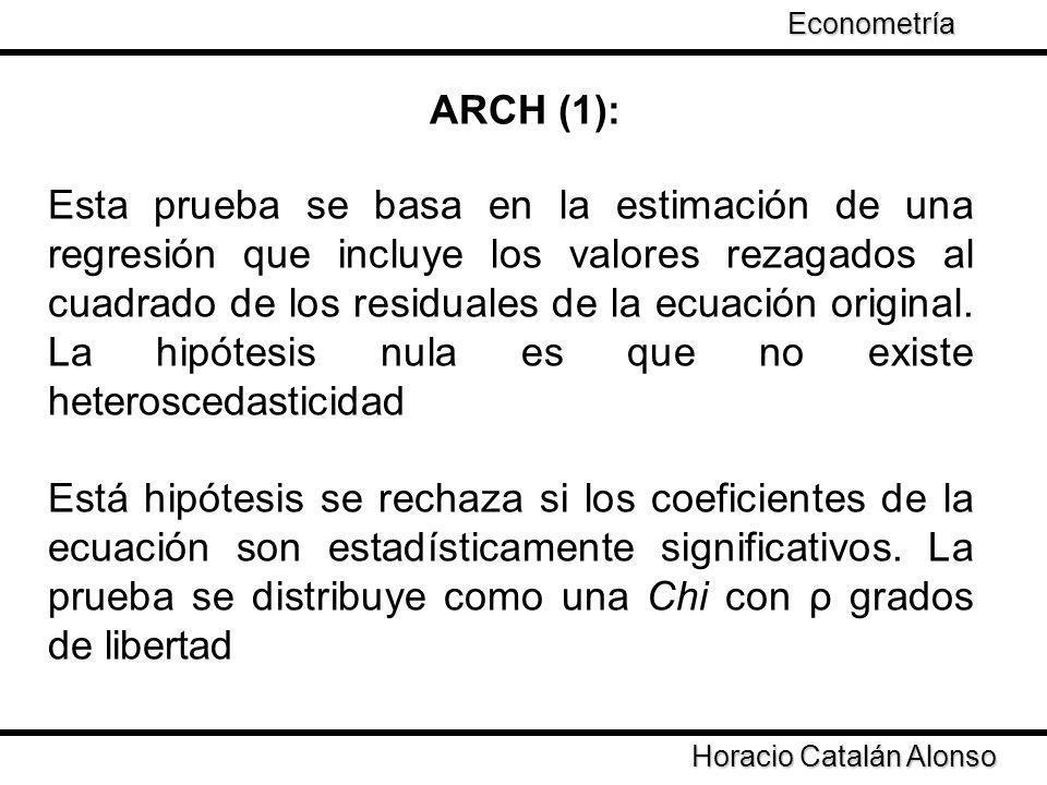 Taller de Econometría ARCH (1): Horacio Catalán Alonso Econometría Esta prueba se basa en la estimación de una regresión que incluye los valores rezag