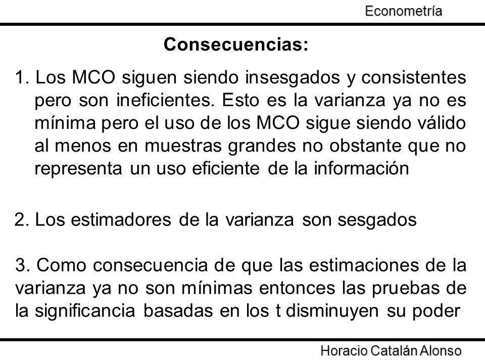 Consecuencias: 1. Los MCO siguen siendo insesgados y consistentes pero son ineficientes. Esto es la varianza ya no es mínima pero el uso de los MCO si