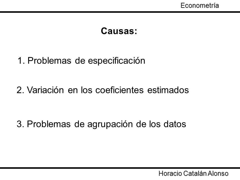 Causas: 1. Problemas de especificación 2. Variación en los coeficientes estimados 3. Problemas de agrupación de los datos Horacio Catalán Alonso Econo