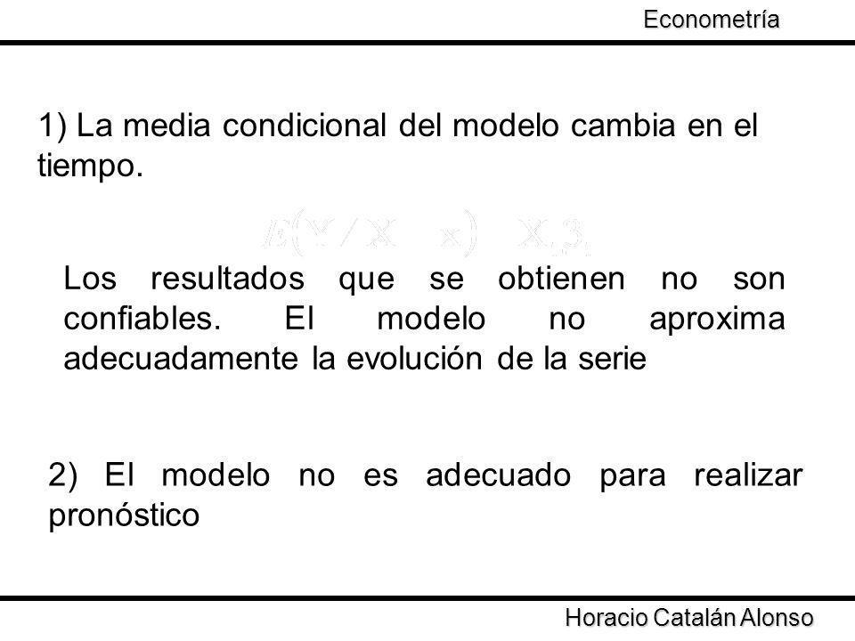 1) La media condicional del modelo cambia en el tiempo. Los resultados que se obtienen no son confiables. El modelo no aproxima adecuadamente la evolu