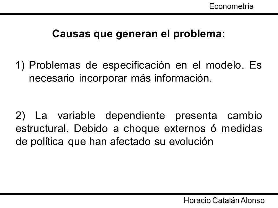 1)Problemas de especificación en el modelo. Es necesario incorporar más información. Causas que generan el problema: 2) La variable dependiente presen