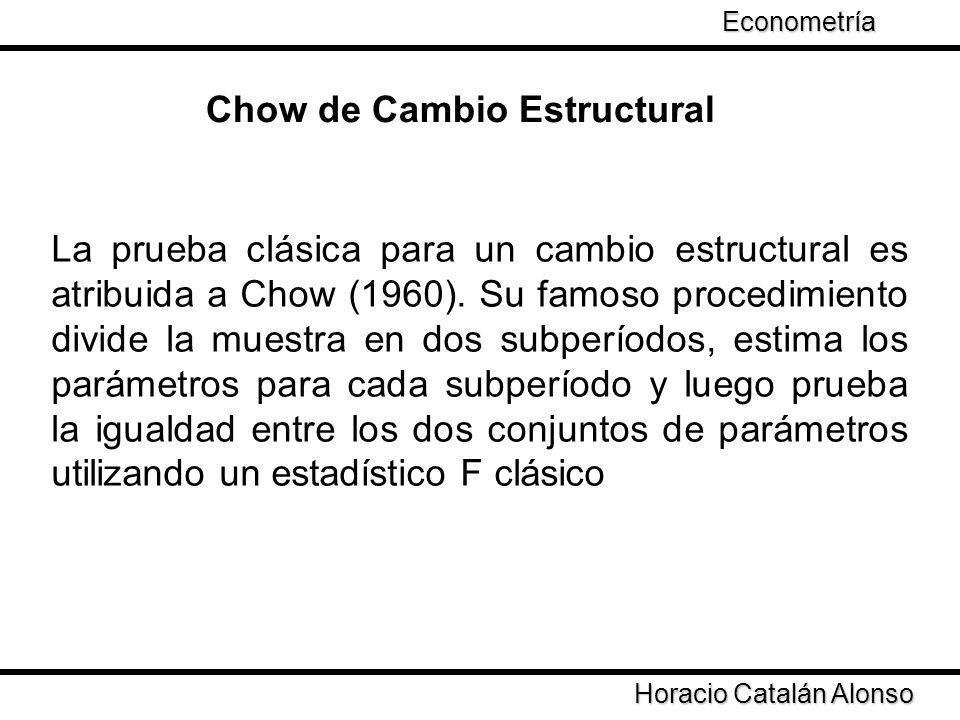 Chow de Cambio Estructural Horacio Catalán Alonso Econometría La prueba clásica para un cambio estructural es atribuida a Chow (1960). Su famoso proce