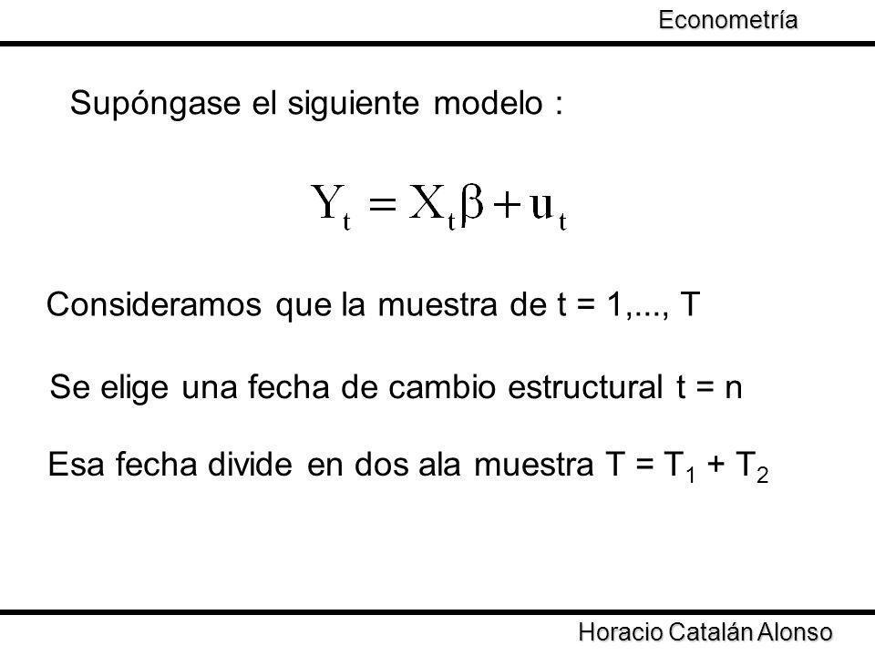 Consideramos que la muestra de t = 1,..., T Se elige una fecha de cambio estructural t = n Esa fecha divide en dos ala muestra T = T 1 + T 2 Horacio C