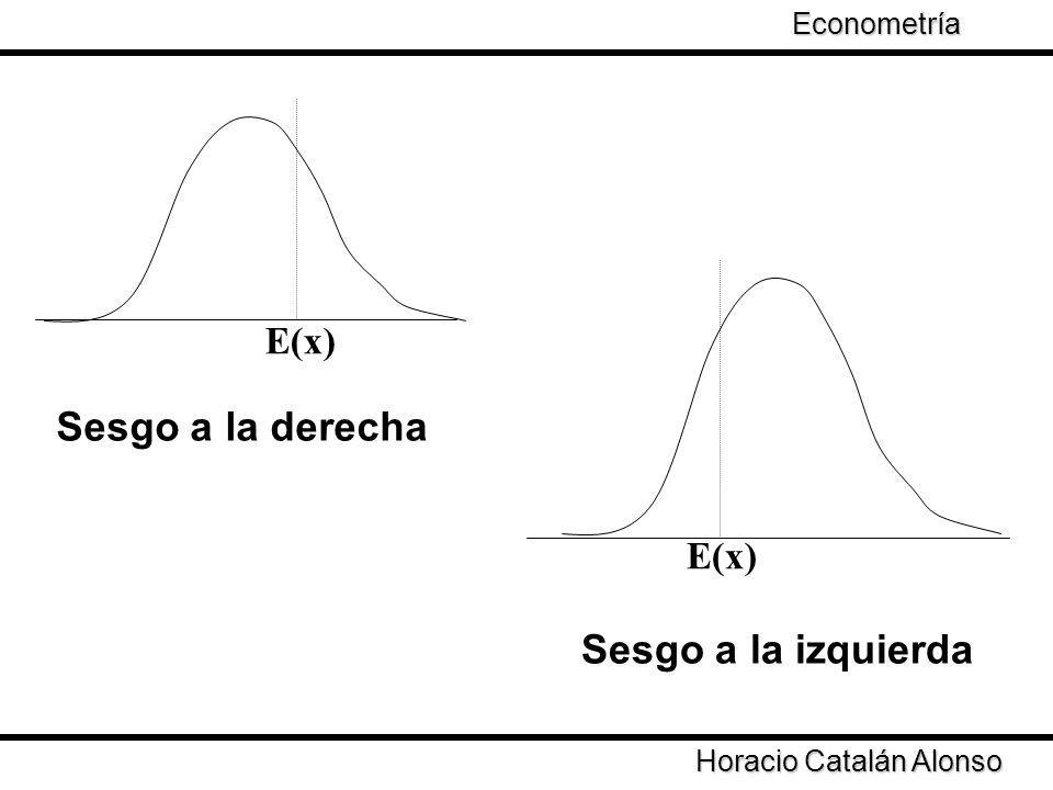 2.a) Los estimadores no tienen varianza mínima 2.b) Las estimaciones de los errores estándar tienden por lo general a subestimar al valor real lo que se traduce en la obtención de pruebas t que rechazan excesivamente la hipótesis nula (Steward y Wallis, 1981, Maddala,1988) 2.c) Las predicciones muestran, por lo general, valores más elevados que los normalmente esperados (Steward y Wallis, 1981) Horacio Catalán Alonso Econometría